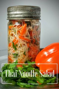 Thai noodle salad melds the bright flavors of lime, cilantro and mint to coat the noodles and make it an excellent mason jar lunch as it marinates overnight