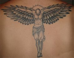 Flying Angel Tattoo On Back