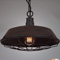 Buy Vintage Cage Metal Pendant Light Fixture Retro Bar Dining Room Ceiling Lights Lighting at Wish - Shopping Made Fun Dining Room Ceiling Lights, Ceiling Light Fixtures, Pendant Light Fixtures, Pendant Lamps, Rustic Pendant Lighting, Cheap Pendant Lights, Pulley Light, Style Rustique, Vintage Metal