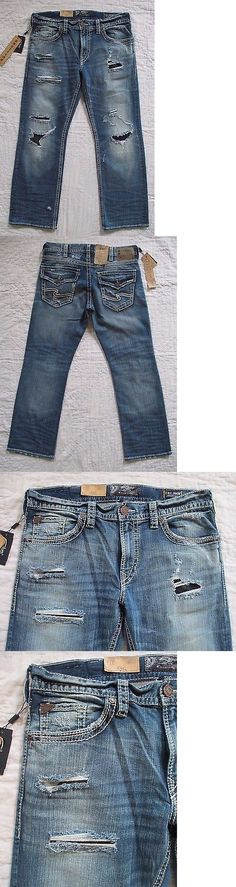 Jeans 11483: Silver Men S Zac Relaxed Fit Straight Leg Destructed Jeans Size 33 X 32 Nwt -> BUY IT NOW ONLY: $69.99 on eBay!