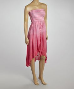 Love this Fuchsia Smocked Strapless Dress by Pink Apple on #zulily! #zulilyfinds