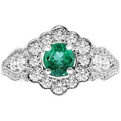 18 Karat White Gold Colombian Emerald And Diamonds Flower Vintage Style Ring Diamond Flower, Gold Diamond Rings, White Gold Diamonds, Diamond Engagement Rings, Diamond Cuts, Three Band Rings, Women's Rings, Contemporary Engagement Rings, Lace Ring