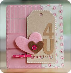 card with heart hearts Nice layout with felt hearts