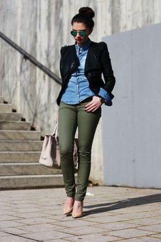 Black cardigan,  jean shirt, green jeans