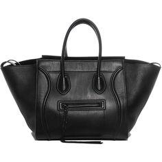 CELINE Supple Calfskin Medium Phantom Luggage Black ❤ liked on Polyvore featuring bags and luggage