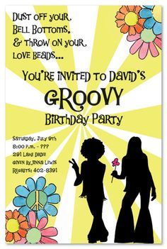Hippie Party Supplies 60s | Kids Birthday Invitations Girls Boys Boys U0026  Girls Sweet 16 Invitations