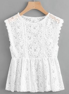 Smock Top sans manches en dentelle - Just DIY Look Fashion, Fashion Clothes, Fashion Dresses, Paris Fashion, Trendy Dresses, Short Dresses, Girls Dresses, Summer Outfits, Casual Outfits