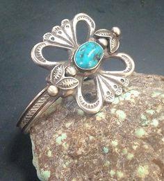 Vintage Navajo Handmade Sleeping Beauty Turquoise Bracelet In Sterling Silver $150.00 Buy it Now