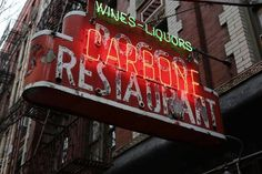 Carbone: Great for a special occasion.  Hard to get a table, but the ribs, the grilled octopus appetizer and the veal parmigiano are amazing! Great restaurant but very expensive.