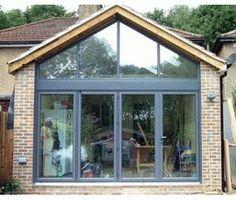 Folding Sliding Door & Gable Window Installation, for Optimum Natural Light House Extension Design, Glass Extension, Roof Extension, Extension Ideas, Extension Google, Bungalow Extensions, Garden Room Extensions, House Extensions, Kitchen Extensions