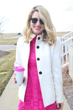 #highheelsandhappyhartz #vday #pink #lace #pumps #heels #winter #white #charmandgumption #mug #blogger #fashion #womensfashion #julesandjulep #blonde #minkpink #shopblossoms #oldnavy #chineselaundry #dachshund