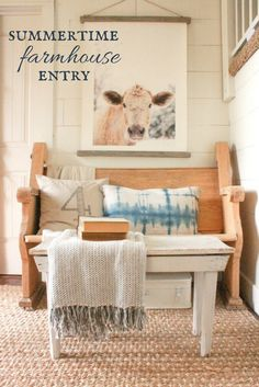 summertime farmhouse entry. Its full of shiplap, raw wood, and summer accessories!
