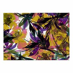 KESS InHouse Ebi Emporium 'Floral Fiesta-Yellow Purple' Gold Lavender Dog Place Mat, 13' x 18' ** Quickly view this special dog product, click the image   Dog food container