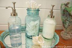 Love sea glass? Use it as a bathroom decor inspiration.