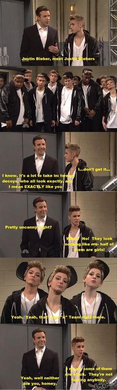 SNL Justin bieber meets his justin bieber look alikes