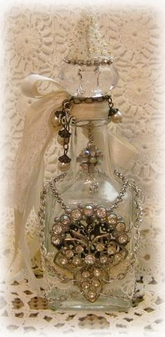 Love the idea of hanging something inside the bottle from the cork Holiday altered bottle for Laura- By Melanie Altered Bottles, Antique Bottles, Vintage Bottles, Liquor Bottles, Bottles And Jars, Glass Bottles, Perfume Bottles, Painted Bottles, Bottle Painting