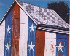 Red, white and blue barn