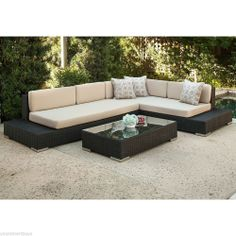 Sectional 3pc 3 Piece Outdoor Patio Deck Garden Furniture Wicker Set Sofa Table