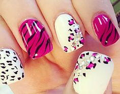 Texture Black And White Paintings | pink zebra white leopard rhinestones nails » Favnails