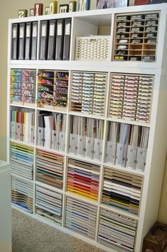 Paper craft storage in IKEA shelves - # workroom ., Paper craft storage in IKEA shelves – # workroom …, Craft Room Storage, Craft Storage Cabinets, Sewing Room Storage, Arts And Crafts Storage, Cupboard Storage, Sewing Rooms, Space Crafts, Ikea Craft Room, Shoe Cabinets