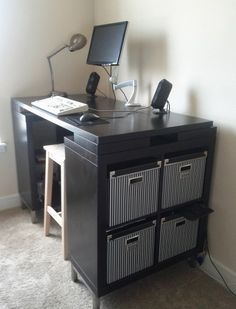 """""""Fixed-height #standingdesk with a Bar Stool. This solution makes the most sense to me: rather than greatly complicate the desk design with moving parts so that you can raise it up and down, why not just get a chair high enough so that you can sit at your standing desk when you want? Then you can have a nice sturdy desk as well as the options to both stand and sit.  Without further ado, here's the desk I built from various IKEA parts!"""""""