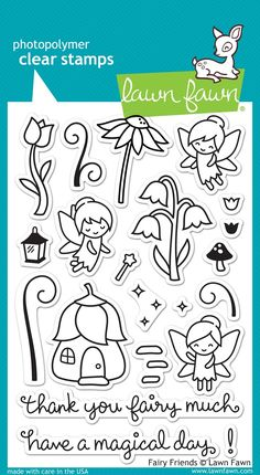 """LAWN FAWN: Fairy Friends x Unmounted Clear Acrylic Stamp Set) Create a """"fairy"""" magical scene with these 21 clear stamps. This Package includes Fairy Friends : two sentiment and nineteen image c Create A Fairy, Lawn Fawn Blog, Karten Diy, Lawn Fawn Stamps, Tampons, Digital Stamps, Clear Stamps, Coloring Pages, Fairy Coloring"""