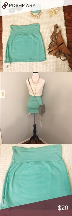 American Apparel high-waisted mini skirt Never worn High-waisted mint green mini skirt from American Apparel. Still has tags! Size small and has a lot of stretch to it. 💯 % cotton and very comfortable. Great piece to add to your closet for summer fun! ☀️ American Apparel Skirts Mini
