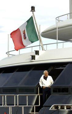 Giorgio Armani  on his luxury yacht in Sardinia, June 2006
