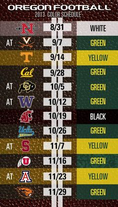 2013 schedule and uni colors