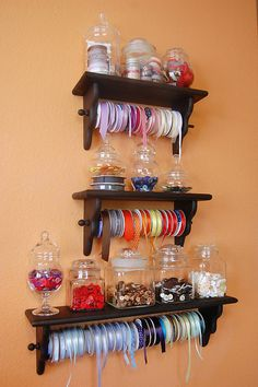 Organize your ribbons and buttons in the craft room Ribbon Organization, Ribbon Storage, Craft Organization, Craft Room Storage, Diy Storage, Craft Rooms, Wrapping Paper Storage, Gift Wrapping, Craft Room Design