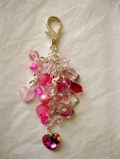 Hearts on Fire Crystals Purse Charm  All by GreenInspiredDesigns, $20.00
