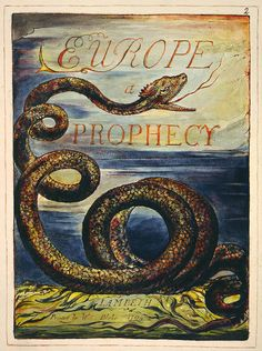 William Blake's Title Page for 'Europe : a Prophecy', Copy K, the Fitzwilliam Museum, Cambridge University. First printed 1794 History Of Poetry, William Blake Art, English Poets, Great Paintings, Angels And Demons, Art Studies, Great Artists, Book Art, Museum