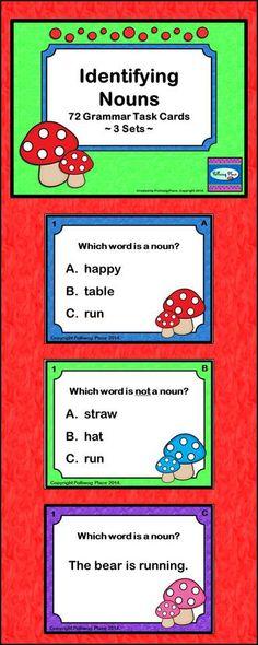Identifying Nouns Task Cards - Grammar Practice ($)