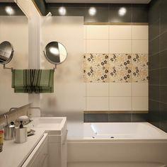 контрастные цвета в маленькой ванной плитка с цветочными узором Alcove, Corner Bathtub, Building A House, Bathroom, Creme, Home Decor, Small Half Baths, Bathing, Tips