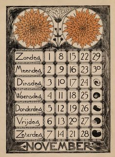 November calendar page for the year 1896 by Theodoor Willem Nieuwenhuis ). Published by Scheltema & Holkema Image and text courtesy The Wolfsonian-Florida International University. Vintage Calendar, Art Calendar, Calendar Girls, Calendar Pages, Art Nouveau, Art Deco, Vintage Graphic Design, Graphic Design Inspiration, Old Paper