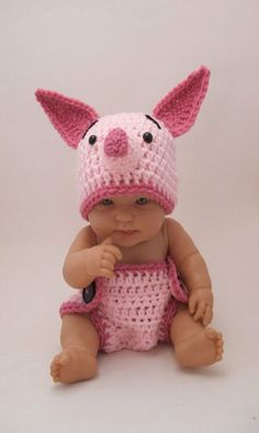 Piglet hat and diaper cover!