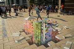 3d city chalk drawing | canary wharf 3d street art workshop we create the world first ever 3d ...