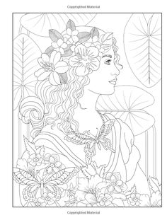 Creative Haven Wondrous Women Coloring Book @ Dover Publications Dover Coloring Pages, Fairy Coloring Pages, Coloring Pages To Print, Coloring Sheets, Coloring Books, Free Adult Coloring, Dover Publications, Colorful Drawings, Copics