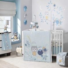 Night Owl is a charming collection featuring Hoot, a sweet, somewhat shy, little owl, who loves hanging around his two favorite feathered friends. We used a combination of soft textural fabrications of velour, jersey, and suede for these sweet characters which are on a soft background of pale sky blue highlighted by white stars. Intricate appliques and embroidery highlight this nursery bedding.