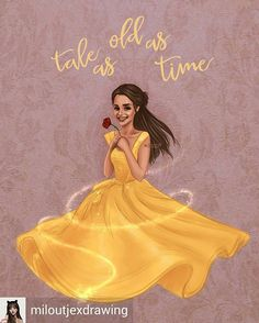 A beautiful illustration for Emma Watson as Belle 💛🌹🌹in Disney's by ✨💙💛🥀❤️🌹 Princess Belle, Disney Princess, Belle Drawing, Beauty And The Beast Art, Belle And Beast, Tale As Old As Time, Enchanted Rose, Emma Thompson, Disney Art