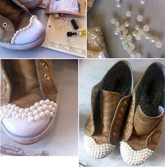 DIY glitter & pearls sneakers