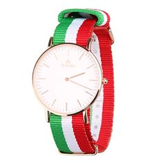 Aurora Womens Casual Business Rose GoldTone Nylon Strap Wrist Watch with Red White Green Striped Band *** Want additional info? Click on the image.