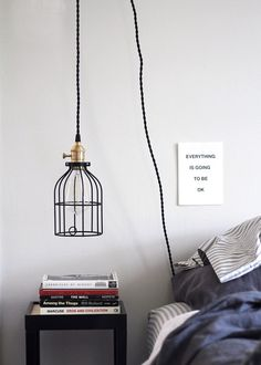 Diy Bedroom Lighting Decor: DIY Hanging Pendant Light From Color Cord Company Hanging Lamps For Bedroom, Bedroom Decor Lights, Diy Home Decor Bedroom, Diy Hanging, Bedroom Lighting, Hanging Lights, Bedroom Red, Bedroom Ideas, Master Bedroom
