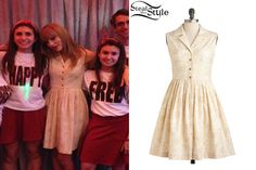 Taylor Swift met fans at Club RED in Toronto wearing a ModCloth Garden Sketch Dress ($124.99).