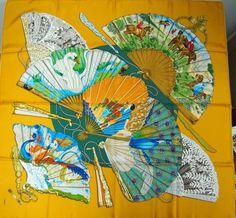 Auth HERMES ' BRISE de CHARME ' yellow silk version