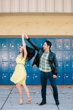 Playful high school sweetheart engagement photos