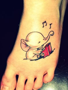 everyone love elephant, would love this! Cute little elephant playing the piano. Love more to place on my back. #tattoo
