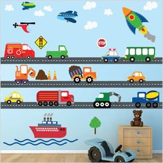 Cars Construction Airplanes Boats Transportation Decal, REUSABLE Decals Non-toxic Fabric Wall Decals for Kids, Kids Wall Decals, Wall Stickers, Transportation Room, Decoration Creche, Boy Room, Kids Bedroom, Bedroom Decor, Construction, Eco Friendly