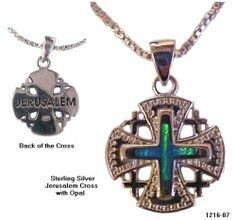 Ornate Jerusalem Cross & Opals Necklace. ON SALE $52.99. http://www.holylandnetwork.com/products/Ornate_Jerusalem_Cross_Opals_Necklace-1132-93.html
