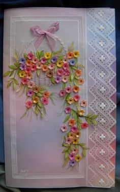 At the time I made this pretty Pergamano card, I had only one small flower punch, so all the flowers are the same size! Quilling Patterns, Card Patterns, Flower Cards, Paper Flowers, Vellum Crafts, Umbrella Cards, Parchment Design, Parchment Cards, Newspaper Crafts